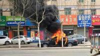 熊孩子车内玩火烧毁自家奥迪