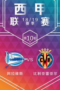 西甲联赛18/19赛季 第10轮 阿拉维斯VS比利亚雷亚尔