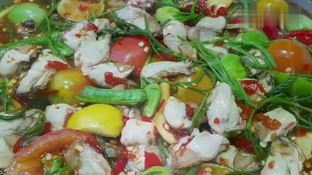 《韩国农村美食》韩国大妈做酸辣拌牡蛎,食材新鲜,怎么吃都好吃