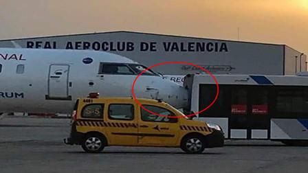 倒车请注意!摆渡车倒车撞上飞机,机鼻瞬间插入车内