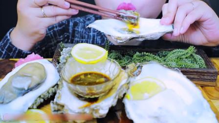 国外美女吃播:生牡蛎+海葡萄+花瓣,好有仪式感