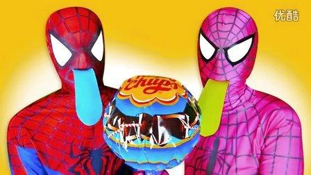 蜘蛛侠和他的妻子有彩色的舌头 现实版英雄 搞笑视频