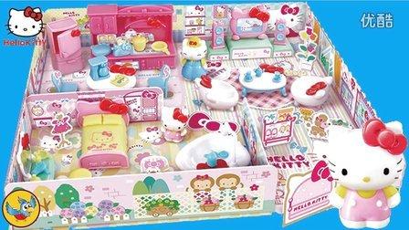 hellokitty家庭套装  凯蒂猫和妈妈布置温馨漂亮的家 女孩过家家场景玩具