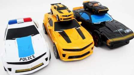 变形金刚5 最后的骑士 玩具变压器 变形金刚大尺寸警察高辛烷大黄蜂相同的豪华大黄蜂 玩具对幼儿 变形金刚5