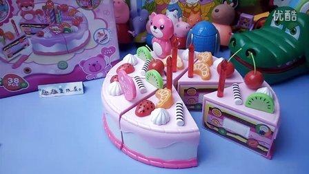 水果蛋糕  自制DIY手工粉红水果奶油小蛋糕