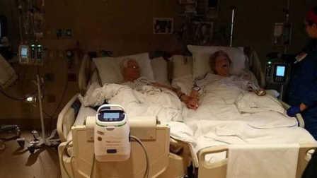 床上 结婚/结婚64年夫妻病床上牵手