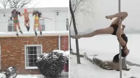 跪服,妹子游雪玩出新高度