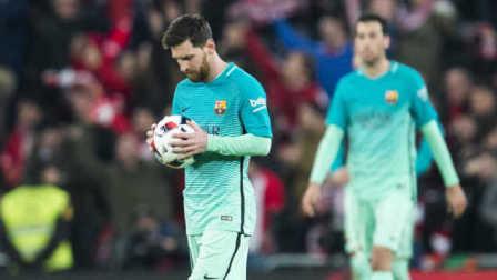 国王杯-梅西任意球破门 巴萨1-2客场负9人毕巴