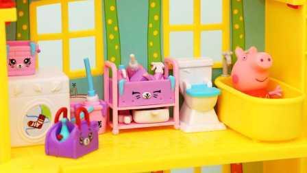 购物小能手 小猪佩奇浴室大扫除 shopkins家居清洁玩具