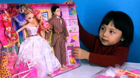 芭比娃娃家庭套装儿童过家家玩具