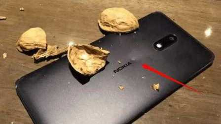 网友拿诺基亚6砸了半斤核桃以后 结果悲剧了