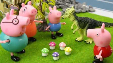 『奇趣箱』小猪佩奇玩具视频:大恐龙偷走猪爸爸的南瓜,小猪佩奇用什么办法把南瓜找回来呢?