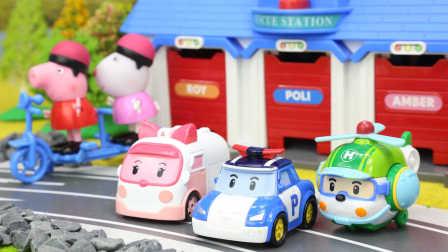 变形警车珀利玩具视频 第一季:变形警车珀利 救护车 直升机告诉小猪佩奇和赛车总动员闪电麦昆要注意安全 12