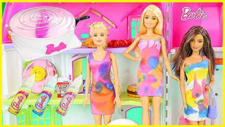 美丽芭比公主DIY小裙子;彩虹染色小裙子手工制作!小猪佩奇熊出没 #欢乐迪士尼#