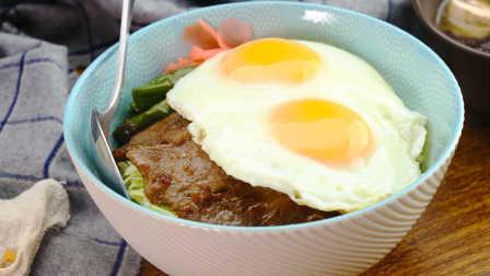 姜烧里脊煎蛋盖饭|太阳猫早餐