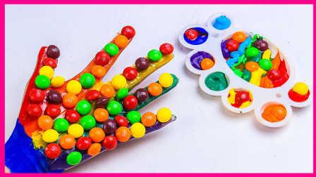 手工DIY彩色缤纷手掌糖果;培乐多彩泥涂鸦糖果玩具试玩!小猪佩奇 #欢乐迪士尼#