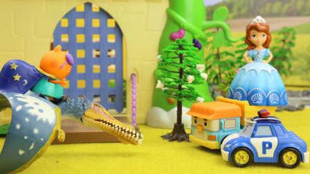 变形警车珀利玩具视频 第一季:变形警车珀利帮助小公主苏菲亚解除巫婆的魔法咒语 13