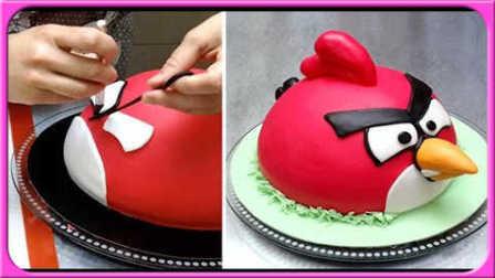 愤怒的小鸟造型蛋糕自制;手工DIY创意卡通动画小蛋糕!火影忍者小猪佩奇 #欢乐迪士尼#