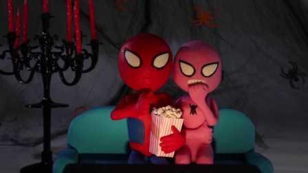 蜘蛛侠看恐怖片的系列事件;搞怪绿巨人被雪宝幽灵吓跑啦!冰雪奇缘小猪佩奇 #车车王国#