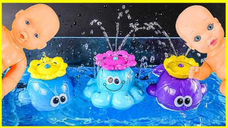 宝宝洗澡大泳池玩具试玩;可爱喷水小鲸鱼玩具扮家家!小猪佩奇海底总动员 #欢乐迪士尼#