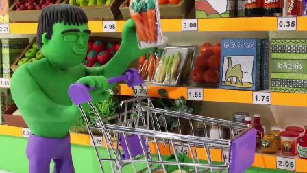 绿巨人的超市购物之旅;小蜘蛛侠的惊喜蛋购买要求!小猪佩奇火影忍者 #车车王国#