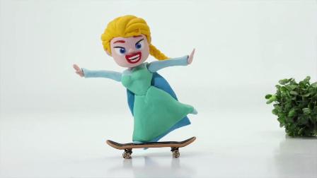 艾莎公主的滑板鞋事故,绿巨人哄受伤的艾莎公主!麦芬医生小猪佩奇 #车车王国#
