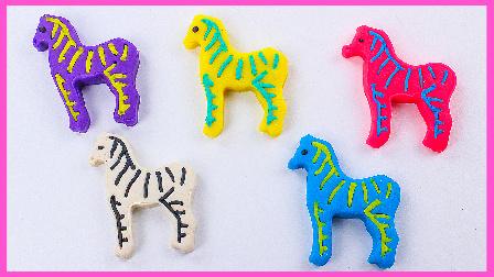 创意盖印彩虹小斑马制作;培乐多彩泥造型无敌玩具试玩!小猪佩奇火影忍者 #欢乐迪士尼#