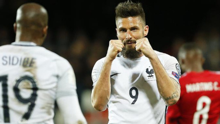 吉鲁梅开二度格列兹曼点射 法国3-1客胜卢森堡领跑