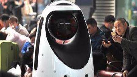 警察机器人,会24小时抓小偷,快去郑州高铁站看