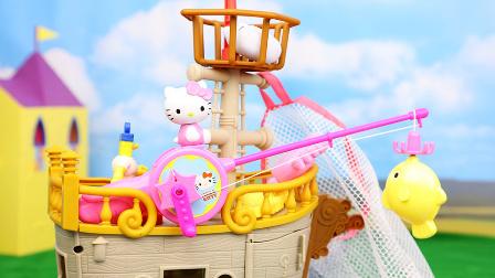 凯蒂猫 海绵宝宝海盗船钓鱼游戏 hellokitty钓鱼玩具