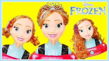 安娜公主美丽发型DIY教学;冰雪奇缘公主美发玩具套装哟!小猪佩奇奥特曼 #欢乐迪士尼#