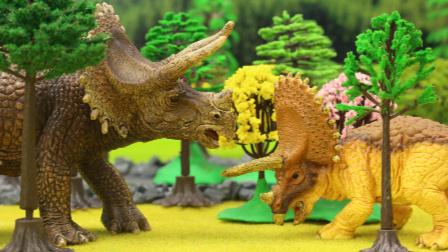 『奇趣箱』恐龙故事:白垩纪恐龙公主营救被霸王龙追赶的小三角龙