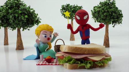 蜘蛛侠捡到超级魔法棒啦!艾莎公主 定格动画 培乐多彩泥粘土 卡通动画 魔发精灵 #车车王国#