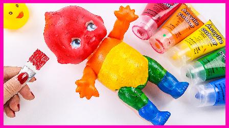 宝宝学颜色 颜料学习 儿童玩具 画画 亲子教学 手工制作