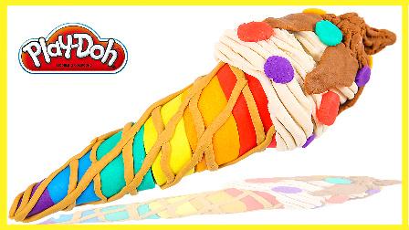 手工制作彩虹培乐多雪糕 亲子手工彩虹冰淇淋玩具 儿童玩具 亲子互动