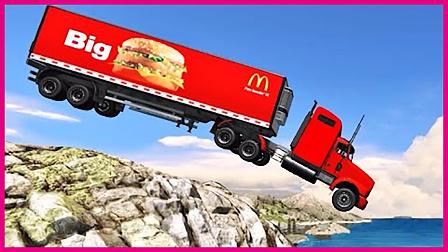 蜘蛛侠驾驶麦当劳汉堡车 超级英雄绿巨人赛车历险记 赛车总动员 卡通动画