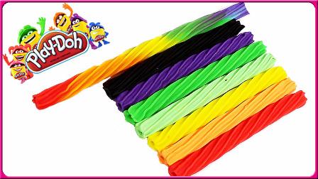 亲子早教彩虹扭扭糖 手工制作培乐多彩泥玩具 亲子手工 玩具试玩