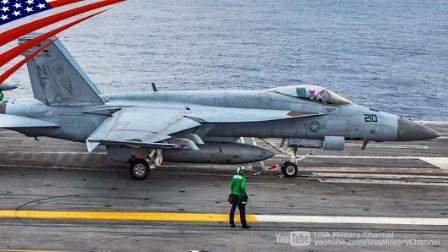 美军·里根号核动力航空母舰-在日本海-舰载机起降训练