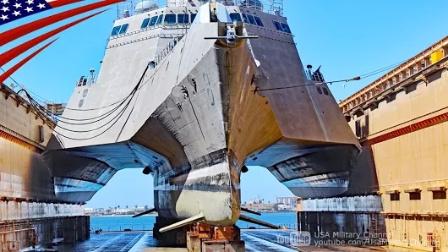 """美国海军-""""蒙哥马利""""号濒海战斗舰-在浮船坞-延时摄影"""