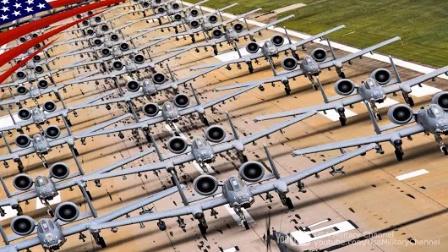 壮观!美军30架A-10雷电二式攻击机-在飞机跑道-航拍