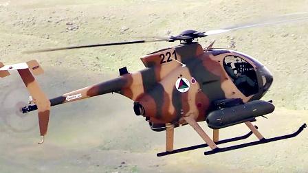 美军帮助阿富汗军方使用MD-530F攻击直升机-对地射击训练