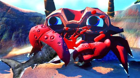 【屌德斯解说】 模拟食人鱼 史上最大的百级螃蟹登场!一口吞掉邓氏鱼!