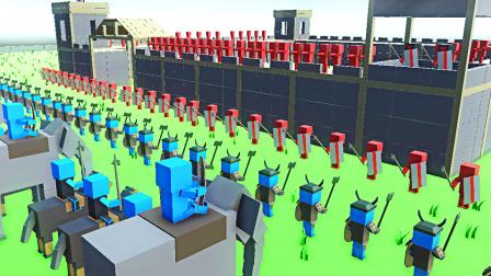 【小熙解说】方块战争模拟器 古代战争! 兽人战士攻城投火球车和大象骑兵攻打城池!