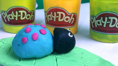 彩泥粘土玩具制作树叶和七星瓢虫