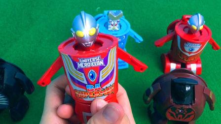超人系列集结超人变身,奥特曼和怪兽变形玩具