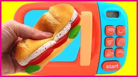 美味汉堡玩具扮家家自制 神奇微波炉扮家家亲子游戏 小猪佩奇 奥特曼 火影忍者 猪猪侠