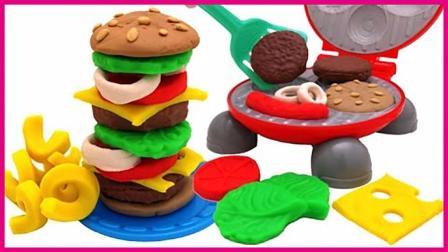 汉堡包烤饼器扮家家玩具试玩 亲子手工培乐多彩泥食物造型 小猪佩奇 奥特曼 熊出没