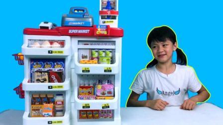 拆箱拼装玩具超市购物专柜套装玩具