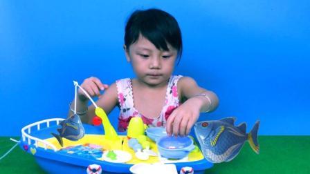 小孩电动钓鱼玩具船过家家儿童仿真厨房玩具