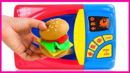 培乐多彩泥微波炉自制汉堡包 亲子互动早教厨房游戏视频 秦时明月 奥特曼 熊出没